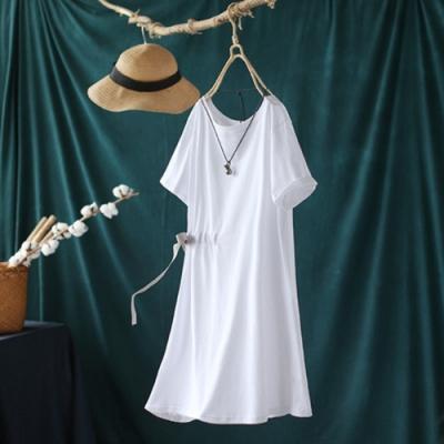 純棉抽繩收腰寬鬆休閒中長版短袖T恤上衣洋裝-設計所在