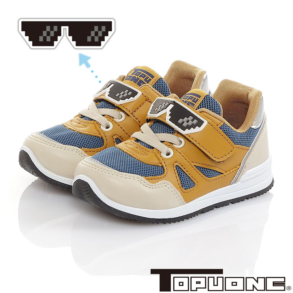 TOPUONE童鞋 馬賽克眼鏡 減壓防臭防滑休閒鞋-咖藍