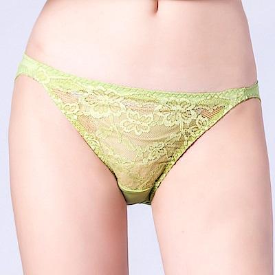 思薇爾 春舞花蝶系列M-XL蕾絲低腰三角內褲(嫩芽綠)