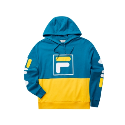 FILA 男長袖連帽T恤-藍綠 1TET-5447-TQ
