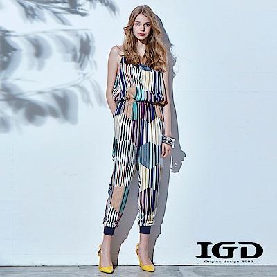 IGD英格麗 多彩條紋拼接連身褲