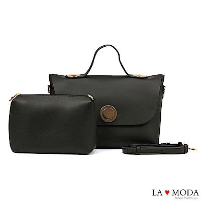 La Moda 質感百搭大容量肩背斜背子母包(黑)