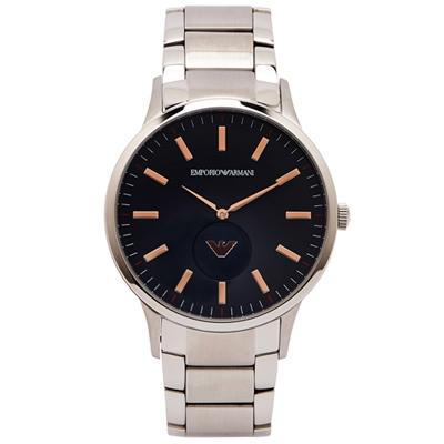 ARMANI 玫瑰金LOGO 秒針小圓盤款手錶(AR11137)-灰黑面/42mm