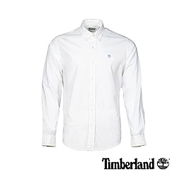 Timberland 男款白色彈力府綢長袖襯衫|A1LS