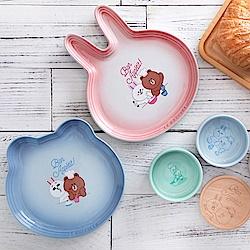 LE CREUSET x LINE FRIENDS 瓷器熊大造型盤 (海岸藍)