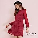 OUWEY歐薇 雪紡拼接水溶蕾絲小立領洋裝(紅)
