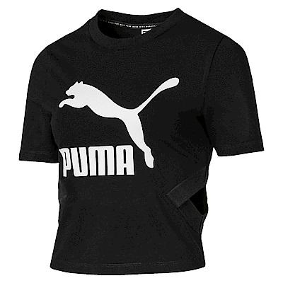 PUMA-女性流行系列經典Logo側挖空短袖T恤-黑色-亞規
