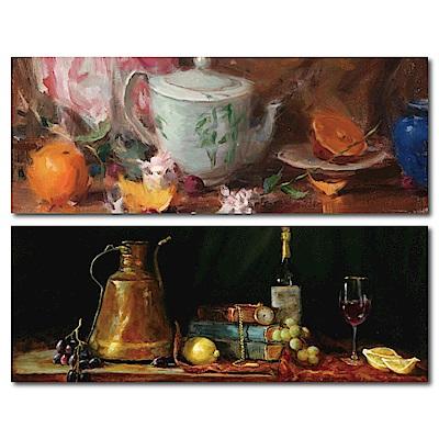 橙品油畫布-兩聯式橫幅掛畫無框畫-午後愜意80x30cm