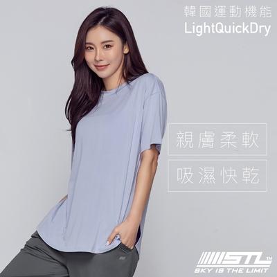 STL YOGA METRO SS 韓國瑜伽 運動機能LightQuickDry輕量快乾 地鐵寬鬆長版短袖上衣 奶油藍LittleBoyBlue