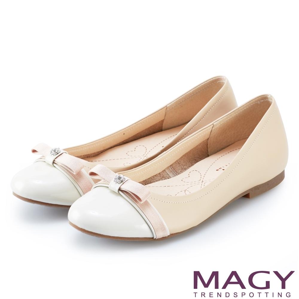 MAGY 雙色真皮鑽飾織帶蝴蝶結娃娃鞋 粉色