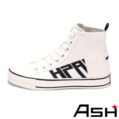 ASH-GENIUS系列時尚百搭高筒字母復古帆布鞋-白