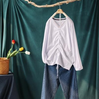 白色純棉長袖T恤寬鬆抽繩開叉韓版內搭上衣-設計所在