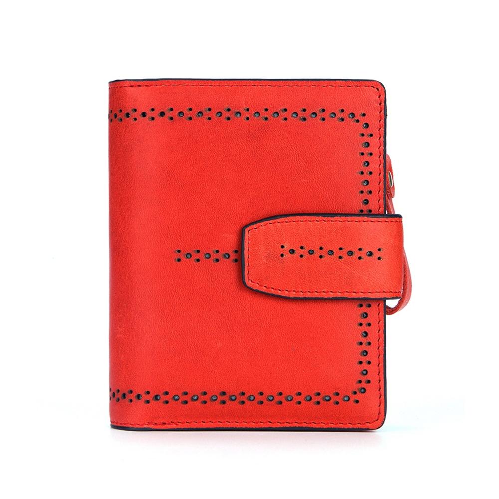 玩皮工坊-真皮頭層牛皮女士鏤空皮夾皮包錢夾錢包短夾女夾LH581
