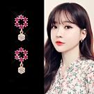 梨花HaNA 韓國925銀針桃紅寶石華麗宴會珍珠花環耳環