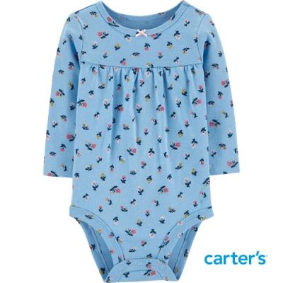 【Carter s】湛藍花朵長袖包屁衣(6M-24M)(台灣總代理)