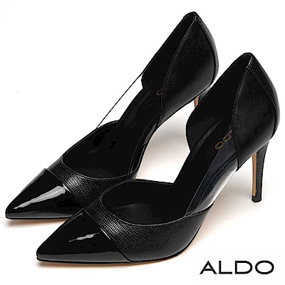 ALDO 拼接蛇紋不對稱尖頭高跟鞋~尊爵黑色