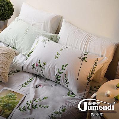 Jumendi喬曼帝 200織精梳純棉-特大床包三件組(慵懶小花園)