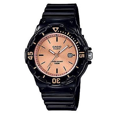 CASIO 簡約錶盤潛水風指針運動錶(LRW-200H-9E2)玫瑰金面x黑/32mm