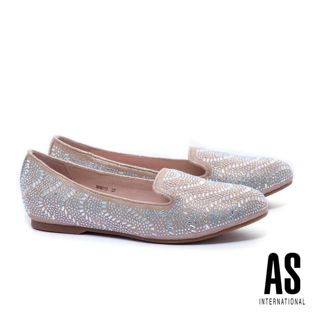 平底鞋 AS 排鑽造型羊麂皮樂福平底鞋-金