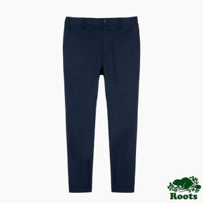 Roots男裝-摩登週間系列 修身平織長褲-藍色