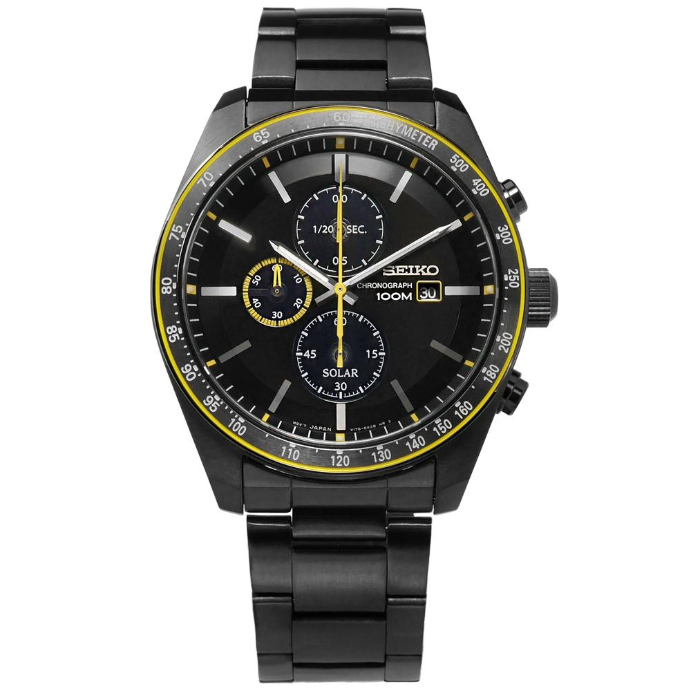 SEIKO 太陽能藍寶石水晶防水100米不鏽鋼手錶-黑x鍍深灰/43mm