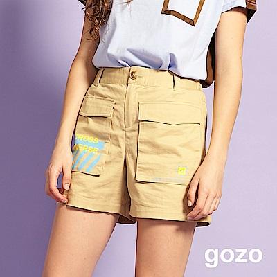 gozo ENJOY TODAY工作口袋棉質短褲(淺卡其)