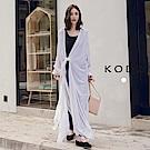 東京著衣-KODZ 知性慵懶經典襯衫領前綁結長版罩衫