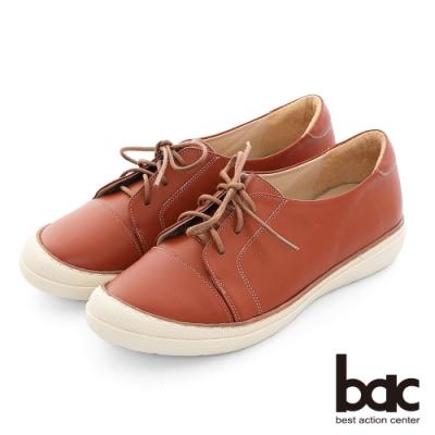 【bac】休閒享樂全真皮綁帶防踢頭餅乾休閒鞋-橘棕色