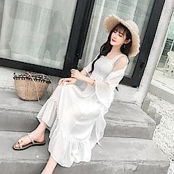 La Belleza素色寬肩帶鬆緊胸圍魚尾荷葉裙擺雪紡背心洋裝