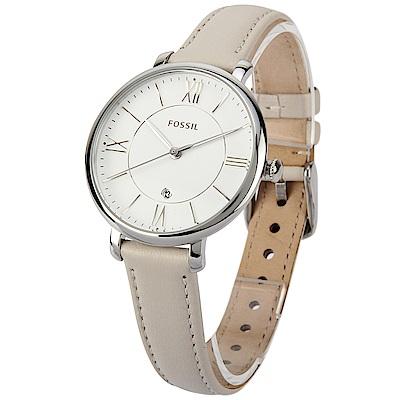 FOSSIL Jacqueline 羅馬時標淺卡其皮革腕錶-(ES3793)-36mm