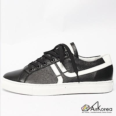 【AIRKOREA韓國空運】真皮正韓拼接線條設計微增高休閒鞋-黑
