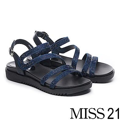 涼鞋 MISS 21 低調奢華燙鑽繫帶異材質拼接厚底涼鞋-藍