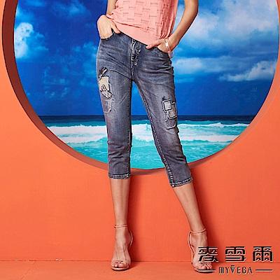 【麥雪爾】棉質刺繡徽章拼布棉質牛仔褲