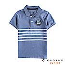GIORDANO  童裝拿破崙刺繡布章短袖POLO衫-32 花紗靛藍