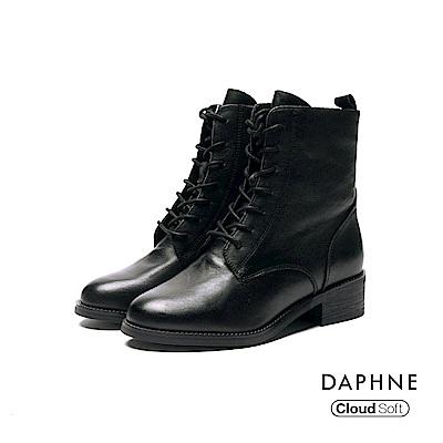 達芙妮DAPHNE 短靴-柔軟牛皮綁帶低跟短靴-黑