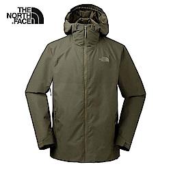 The North Face北面男款軍綠色防水透氣連帽衝鋒衣|3O877JR