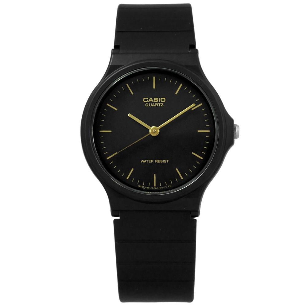 CASIO 卡西歐 簡潔復刻 橡膠手錶-黑金色 MQ-24-1E 33mm