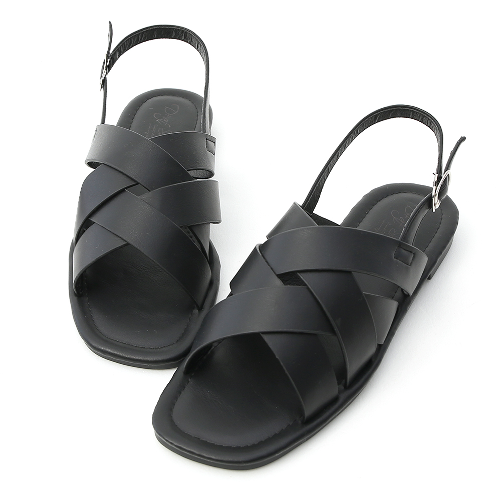 D+AF 個性話題.雙層交叉方頭平底涼鞋*黑