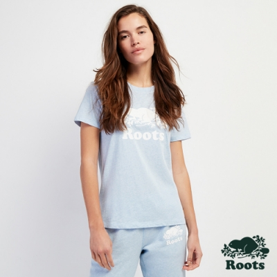 Roots女裝-經典海狸短袖T恤-天空藍