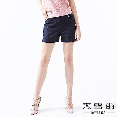 【麥雪爾】棉質知性俐落反褶短褲