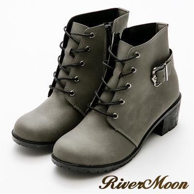 River&Moon機車靴-個性綁帶造型側拉鍊短靴 灰