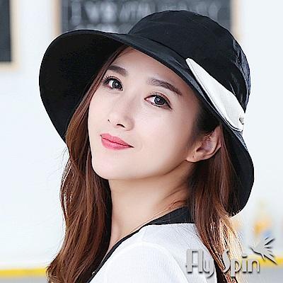 FLYSPIN 女款韓版全棉遮陽可收納蝴蝶結淑女漁夫帽