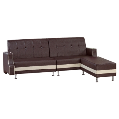 文創集 派格西時尚雙色皮革L型多功能沙發組合(四人座+椅凳)-230x154x83cm免組