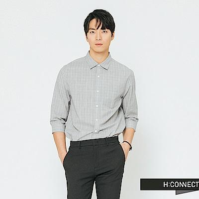 H:CONNECT 韓國品牌 男裝-細格紋七分袖襯衫-灰