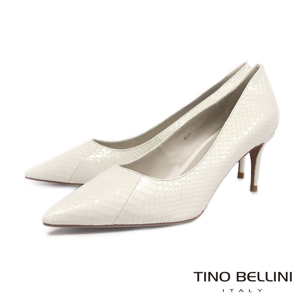 Tino Bellini細膩觸感蛇皮尖楦高跟鞋_白