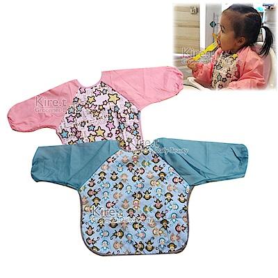 Kiret 寶寶長袖圍兜1入-兒童 防水 吃飯衣 繪圖衣 藍橘粉任選