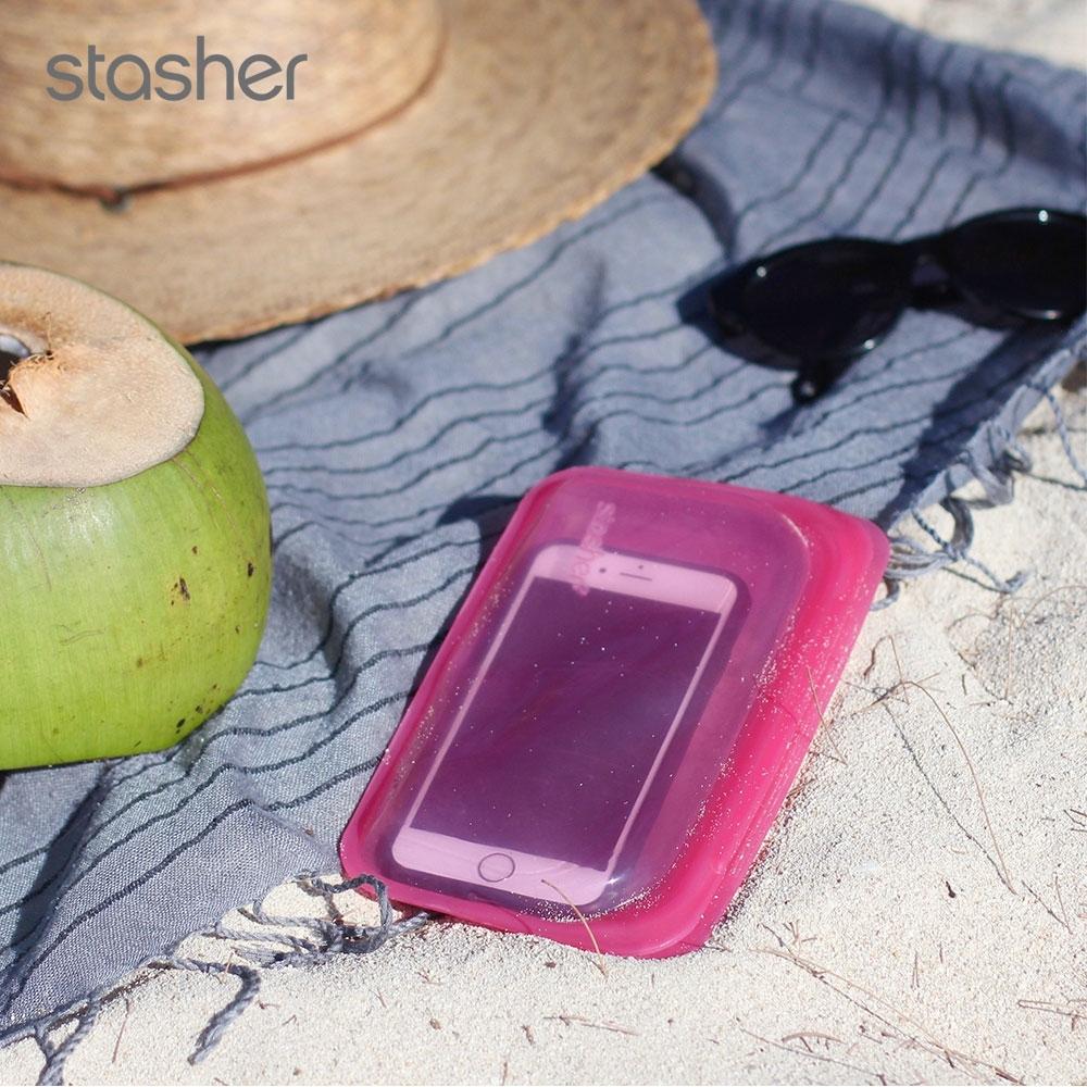 美國Stasher 長形環保按壓式矽膠密封袋-野莓紅(快)