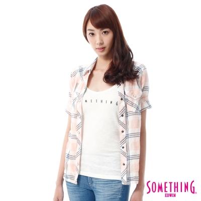 SOMETHING 後接蕾絲格紋襯衫 -女-淡桔