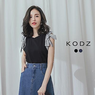 東京著衣-KODZ 摩登知性簡約條紋拼接袖上衣-S.M.L(共兩色)