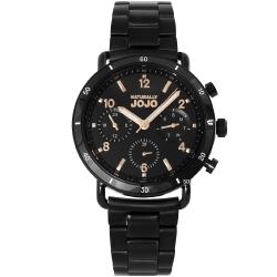 NATURALLY JOJO 都會三眼時尚手錶-黑x玫瑰金/39mm
